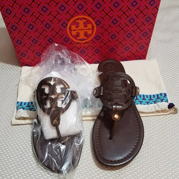 f2680125f NIB TORY BURCH Miller Sandals Dark Chocolate Brown